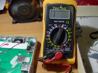 Multimeter showing out-of-range measurement (high resistence)