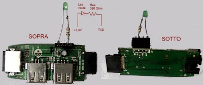 Front and back of the led + resistor connected to the expander box
